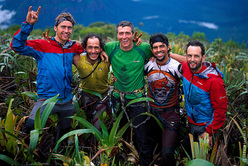 The team on the summit of Cerro Autana: Leo Houlding, Yupi Rangel, Sean Leary, Alejandro Lamus, Jason Pickles.