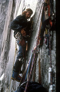 Jim Bridwell climbing the Compressor route, Cerro Torre, Patagonia