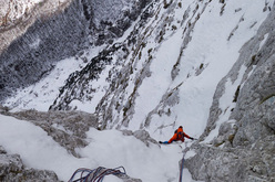 From 25-27/02/2012 David Lama and Peter Ortner established a difficult new route up the North Face of Loska Stena in Slovenia.