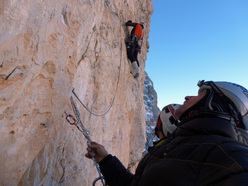 Rolando Larcher climbing the crux pitch of Via Cembridge (550m, 7b+ (6c oblig), Cima Margherita, Brenta Dolomites.