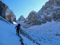 Snowshoeing up Val Brenta.