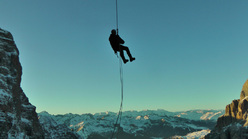 Abseiling above Val Brenta