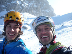 Tito Arosio and Daniele Natali after the first winter ascent of Via Paco.