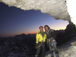 Roger Schäli and Simon Gietl and the bivy on the ledge below the summit of Cima Grande, Tre Cime di Lavaredo, Dolomites.