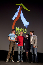 Piolets d'Or 2012: the Slovenians Luka Strazar and Nejc Marcic together with the mayors of Courmayeur and Chamonix, Fabrizia Derriard and Eric Fournier