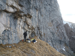 On 25-26/02/2012 Alessandro Baù and Enrico Geremia carried out the first repeat, and first winter ascent, of Andamento Lento in Val Scura (Dolomites).