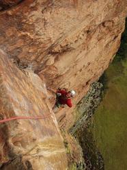 Luka Krajnc climbing up Acopan