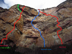 Left: Maria Rosa (7b, 500m). Middle: Kids with Guns (5.13a, A3, E6 6c). Right: Apichavai (8a+, 500m), Amuri Tepui, Venezuela.