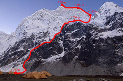 The line of ascent up Jannu's Westridge (7710m) Nepal.