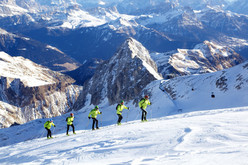 Ascending to the finishing line at Punta Rocca, Marmolada