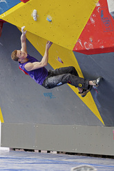 The first stage of the Bouldering World Cup 2012 at Chongqing in China: Jakob Schubert.
