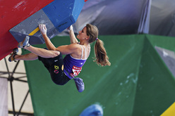 The first stage of the Bouldering World Cup 2012 at Chongqing in China: Anna Stöhr.