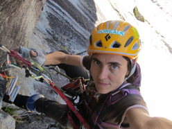 Silvia Vidal establishing Espiadimonis  (A4/6b, 1500m) up Serrania Avalancha, Patagonia.