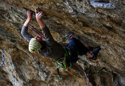 Adam Ondra freeing the as yet unnamed 8a at Arco.