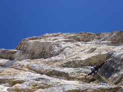 Climbing pitch two of Schirata. Piz Ciavazes (Sella, Dolomites)