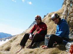 Manuel Stuflesser and Martin Riegler on the Cengia dei Camosciledge after having made the first free ascent of  Schirata, Piz Ciavazes (Sella, Dolomites)