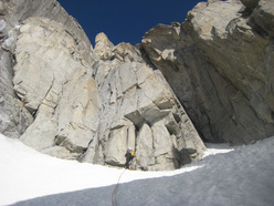 The start of Depravation, established on 31/03/2012 by Francesco Salvaterra and Patrick Ghezzi up the East Face of Presanella.