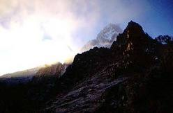 Dawn breaks onto Mount Kenya