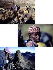 Sopra: Alle pendici del Monte Kenya. In mezzo: Portatori. Sotto: Sulla vetta del Nelion, una delle due vette gemelle del M.te Kenya
