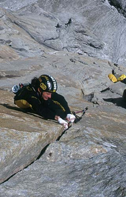 Women and chalk, East Face Shipton Spire, Trango, Pakistan. Mauro Bole on the 7c+ pitch.