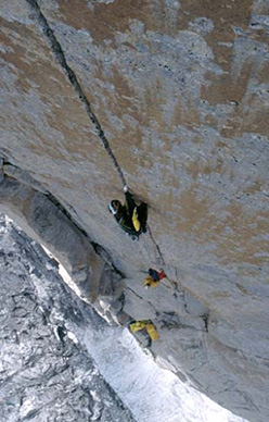 Women and chalk, East Face Shipton Spire, Trango, Pakistan. Mauro Bole on the 8a crux pitch.