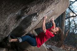 Martin Keller climbing Der mit dem Fels tanzt at Chironico, Switzerland.