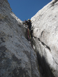 Presanella East Face: P. Ghezzi on pitch 5 of Depravation