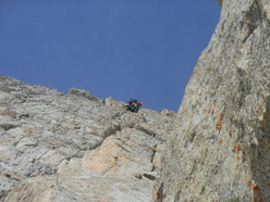 Presanella parete est: Tomas Franchini sul diedro Trepin