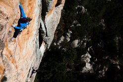 Barbara Zangerl repeating Delicatessen (8b, 120m), Bavella, Corsica
