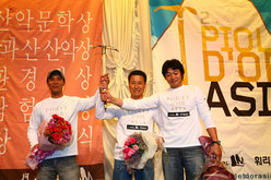 The winners: Sim Kwang Sik, Kang Yongsun and Joo MinSu
