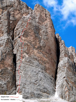The climb Spigolo Sam (6c, 500m) on the Pilastro della Tofana di Rozes in the Dolomites, first ascended in 2011 by Massimo Da Pozzo, Natasha Da Pozzo and Samuele Majoni.