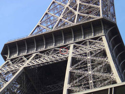 Mike Robertson climbing the Eiffel Tower