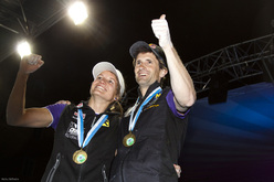 Anna Stöhr and Kilian Fischhuber win the fourth stage of the Bouldering World Cup 2012 in Innsbruck, Austria