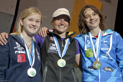 The fourth stage of the Bouldering World Cup 2012 in Innsbruck, Austria: Shauna Coxsey, Anna Stöhr, Melissa Le Neve