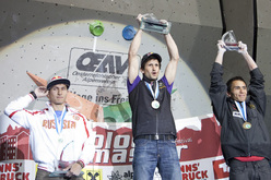 The fourth stage of the Bouldering World Cup 2012 in Innsbruck, Austria: Rustam Gelmanov, Kilian Fischhuber, Sean McColl