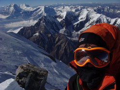 Tomaz Humar just before the summit of Annapurna (Dhaulagiri and Niligiri in the background)
