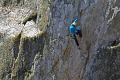 05/2012: Hansjörg Auer climbing the route Blue Peter at Gogarth