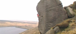 Gaz Parry climbing Reservoir Dogs at Widdop, England.