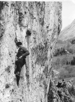 Rinaldo Amigoni in arrampicata