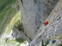 Christian Rizzo climbing the third pitch of Trial.