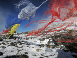 Prayer flags on the South Col of Everest.