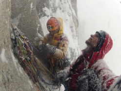 Bad conditions are not a sufficient excuse. We resolved to climb every day...Racking up before pitch 27