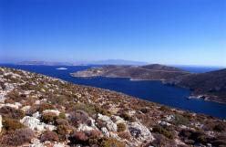 L'isola di Kalymnos e la vista sul mare Egeo