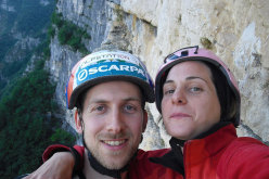 Alessio Roverato and Angela Carraro on Cara in Val Gadena