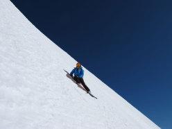 Discesa con gli sci della Via Tardivel, Brenva, Parete Sud del Monte Bianco