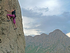 Esra Seyit climbing above the village.