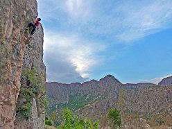Competition winner Alper Tolga Kocatas climbing above the village.