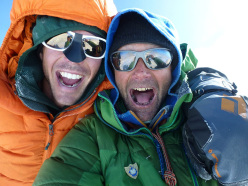 Andy Houseman and Nick Bullock on the summit of Denali (6194m) in Alaska on 27/06/2012 after having climbed the Slovak Direct.