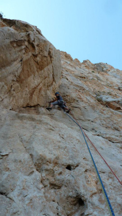 Fabio Failla and Luigi Filocamo during the first ascent of Monaco di Clausura  (5 pitches, 6c max, 6b+ oblig), Pizzo Monaco, San Vito Lo Capo, Sicily.
