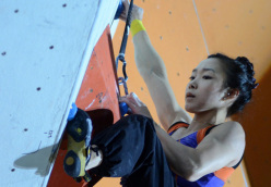 Jain Kim at the first stage of the Lead World Cup 2012 at Chamonix.